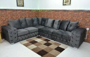 Crushed Velvet Corner Sofa Scatter Back Cushions Grey Fabric