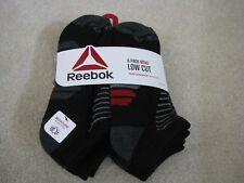 Reebok Mens Low Cut Socks 6 Pair Black Grey Red Size 10-13