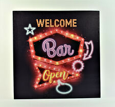 LED Party Leucht Schild Welcome Bar open Bild Wand Batteriebetrieb Deko Raum