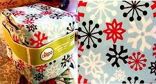 Snowflake Holiday Blue Retro Queen Sheet Set Flannel 100% Soft Cotton 4 PCS New