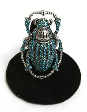 Lucky Brand Scarab Beetle Ring TURQUOISE RHINESTONES GUNMETAL SILVER SIZE 6-8