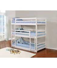 Modern Design White Twin Triple Layer Convertible Solid Pine Wood Youth Bunk Bed