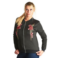 New Womens Ladies Kaira Embroidered  Bomber Jacket - Black - 8-14