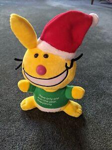 """Christmas Yellow Happy Bunny 10"""" Plush Y2K 90s Rude Jim Benton Novelty Gift"""