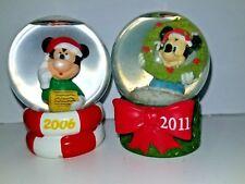 "JC Penney Mickey Mouse Disney 2"" Mini Snowglobe JCP Christmas lot of 2 2011 2006"