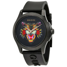 Gucci G-Timeless Black with Cat Motif Dial Mens Rubber Watch YA1264021