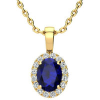 "14K YELLOW OR ROSE GOLD 0.67CT OVAL SAPPHIRE & HALO DIAMOND PENDANT W/18"" CHAIN"