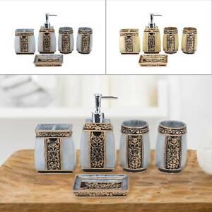 5Pcs Bathroom Accessory Set Resin Tumbler Toothbrush Dispenser Soap Cup UK
