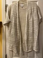 St. Johns Bay Women's Sweater Cardigan Size X Large Cream Beige