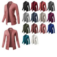 FashionOutfit Women's Basic Solid Long Sleeve Ribbed Banded Open Front Cardigan