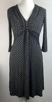 Laura Ashley Weekend Polka Dot Jersey Dress Size 12 Grey
