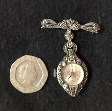 1940s Buler 925 Silver & Marcasite Ladies Swiss Made Fob, Nurse Watch 17 Jewels