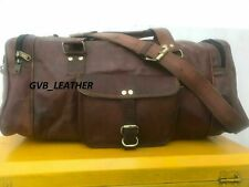 Genuine Goat hide Leather Expandable Vintage Duffel Travel Weekend Overnight Bag