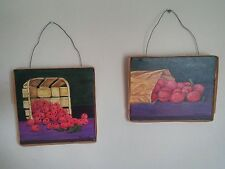 VTG Shabby Chic Still Life Paintings Raspberries Plum Tomatoes Signed R. Andreas