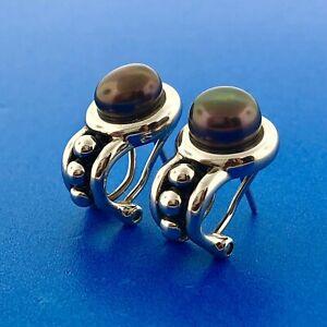 Stunning Sterling Silver 925 Black Pearl Omega Back Stud Earrings