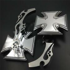 Universal Motorcycle Trlbal Skulls Flames Iron Cross Billet Mirrors Set Chrome