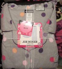 JOE BOXER XL FLANNEL PAJAMAS PJS NWT WOMENS GRAY WITH MULTICOLOR DOTS+