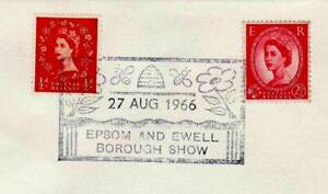 GB Stamps Souvenir Postmark Epsom & Ewell Show, Bees, hive, insects, honey 1966