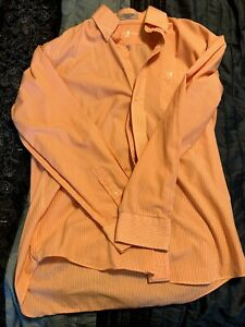 Mens Duck Head Brand Orange/White Stripe Button Down Dress Shirt Med. 15/15.5