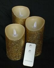 3 LED Remote control flickering flame gold glitter candles  - Real Wax!
