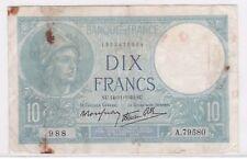 BILLET 10 FRANCS MINERVE SU 14 11 1940 SU 988 A 79580