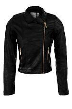 Ladies Black Biker Jacket Gold Zip PVC Leather Padded Shoulder Women's Coat