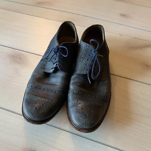 mens 11 Joseph abboud blue genuine leather Oxford dress shoe
