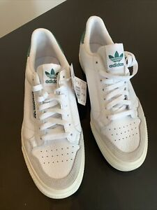 Adidas Continental Vulc UK10 White Leather Green Court Tennis 80s Original