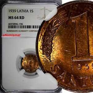 Latvia Bronze 1939 1 Santims NGC MS64 RD FULL RED TONING GEM BU  KM# 10