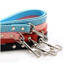 Dog lead black red blue pink white pet animal cat faux leather collar puppy