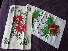 Unused tea Towel Lot Vintage 50 th Printed  Christmas Pointsettia Abstract New