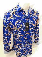 Mens PREMIERE Long Sleeve Button Down Dress Shirt BLUE DESIGNER PAISLEY 685 NWT