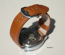 24mm Brown Mens 100% Genuine Leather Watch Strap Band SOLID HEAVY Steel Buckle