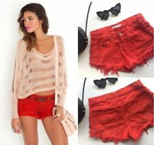 Stussy Red Denim cut off shorts AU 8 Low Rise Hipster