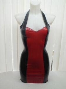 Latex Kleid Gummi schwarz rot Cosplay Party Kleid Mode Sexy Strand Dress 0,4mm