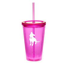 16oz Double Wall Acrylic Tumbler Pool Beach Cup Mug Straw Cute Pitbull w/ Heart