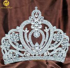 """Large 6"""" Pageant Brides Tiara Clear Rhinestone Wedding Crown Prom Party Costumes"""