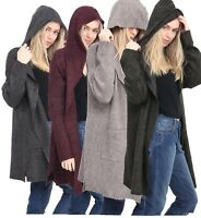 Ladies New Cuddly Cozy soft warm Hoody Stylish longer cut Cardigan Winter Jumper