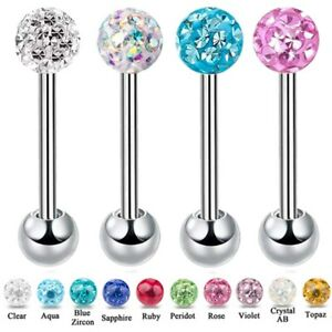 Epoxy Coated Ferido Gem Ball Tongue Nipple Bar Multi Crystal 10mm 12mm 14mm 16mm