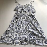 Banana Republic Womens Sz M Blue White Floral Print Thin Lightweight Dress A1069