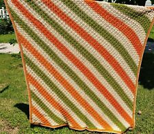 Crocheted Diagonal Blanket Afghan Green Orange Taupe Off White 77 x 65