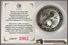 1993 Kookaburra 2oz. Specimen with 'Port Phillip Kangaroo Office' Privy Mark