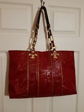 TORY BURCH Signature T Red Patent Leather & Leather Signature Logo Handbag Tote