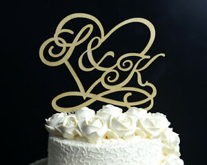 Personalized Wedding Cake Topper Rustic Wood Custom Monogram Cake Topper #122