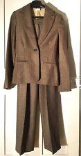 Stunning PAOLA FRANI 100% wool ladies trouser suit sz 8 designer brown diamante