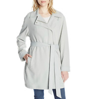 7 For All Mankind Women's Asymmetrical Fashion Drape Trench Coat, Coastal Grey