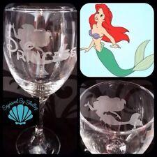 Personalised Disney Princess Ariel, Mermaid Wine Glass Handmade & Free Engraving