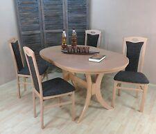 Essgruppe 5-tlg. Auszugtisch oval Esstisch Stühle Farbe: Buche-Natur/Schoko
