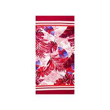 Palm Leaves Beach Towel Red, 100% Cotton Soft Quick Dry Turkish Bath Towel