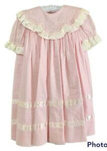 Strasburg  Dress 24 mo. Heirloom Collection Pink/White Satin Trim Toddler EUC